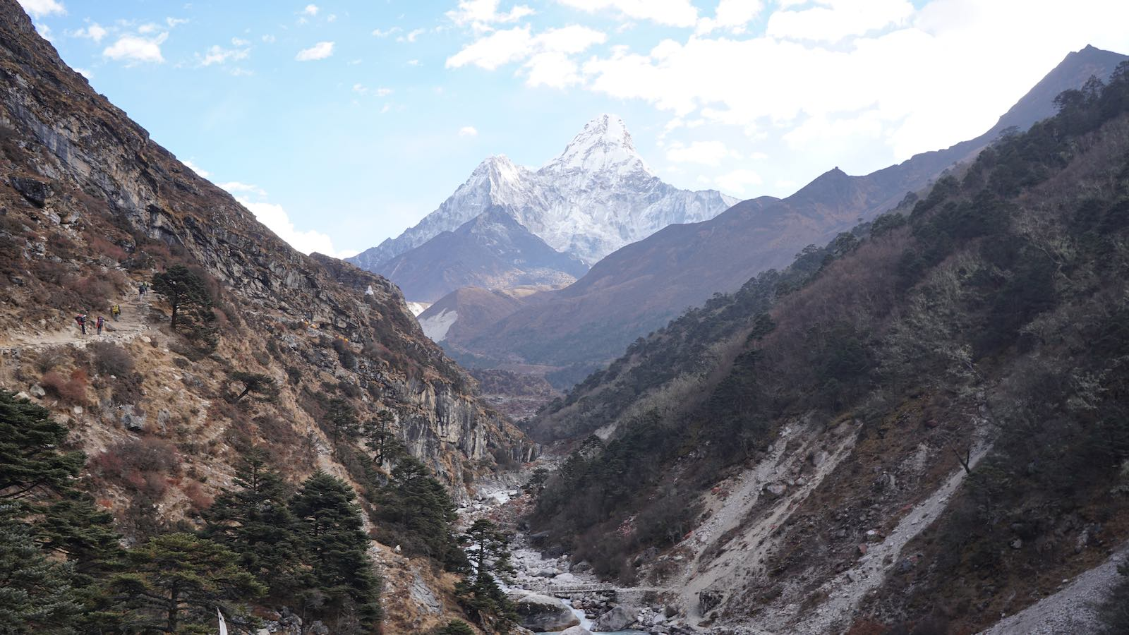Got back down below the tree line, turned back at a river crossing for one more gorgeous look at the peak of Ama Dablam