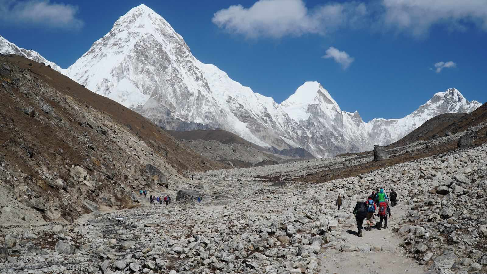 Second half was a giant uphill climb to a place called 'Memory Hill' and then mostly flat rocky terrain to Lobuche