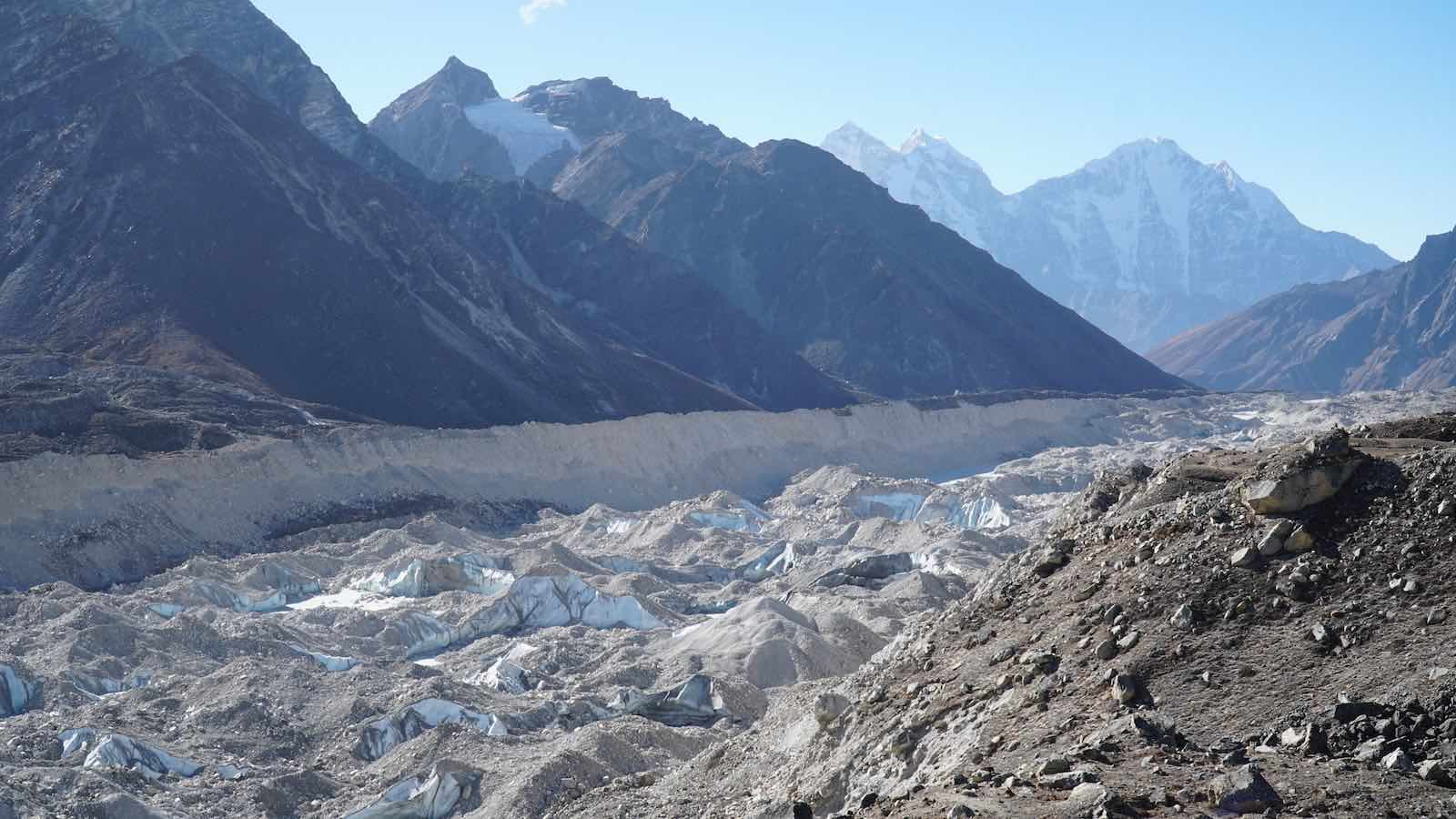 Most of the trek followed the Khumbu Glacier