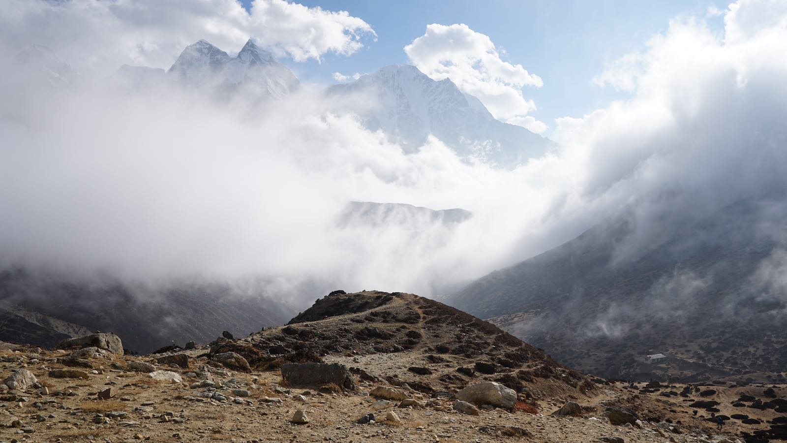 Second half of the trek was almost mystical with the 'low' hanging clouds shrouding the adjacent mountains