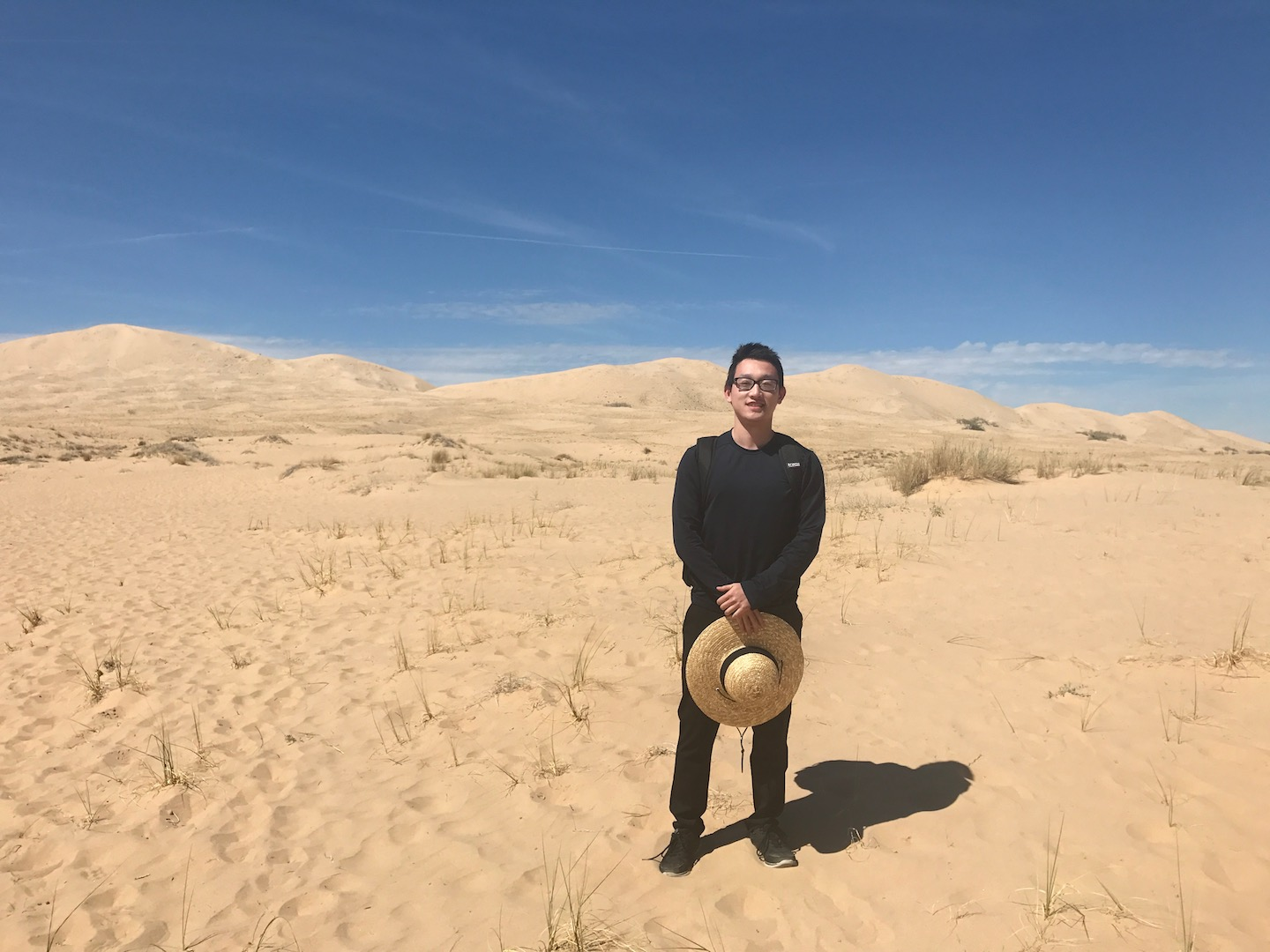 The face of someone who does not yet realize how much he's underestimated these sand dunes