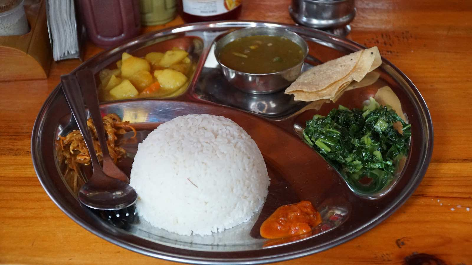 My most consumed meal in Kathmandu and later on in the mountains: Dal Bhat. The best part was that you get free refills of most of the sides, great when you're hungry.