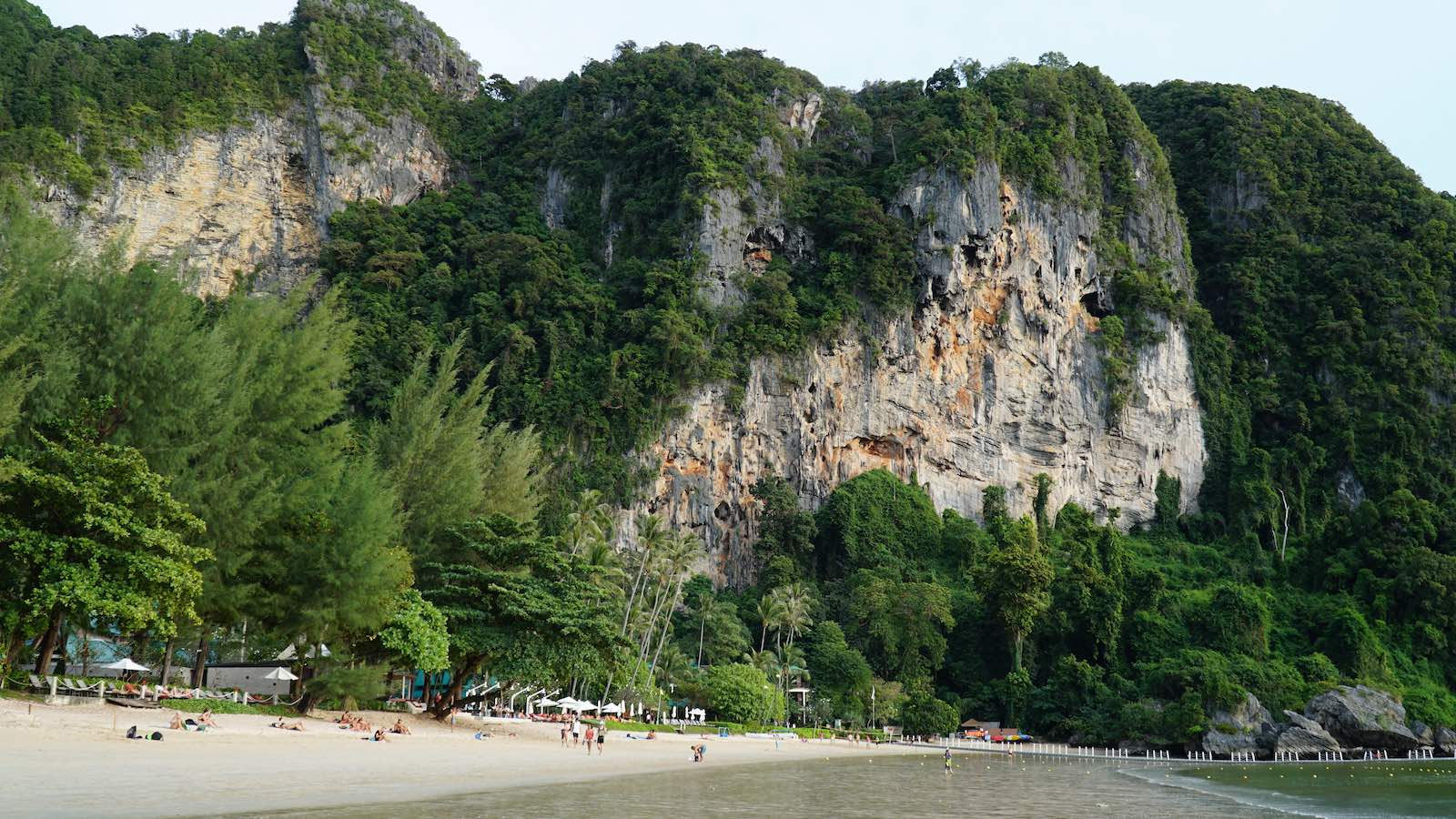 I spent my first day exploring the nearby beach and found a little path at one end that led me around one of these massive limestone cliffs to a much smaller and less crowded side beach.